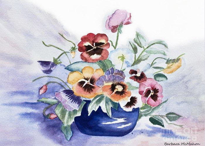 Watercolour Greeting Card featuring the painting Pansies In Blue Pot by Barbara McMahon