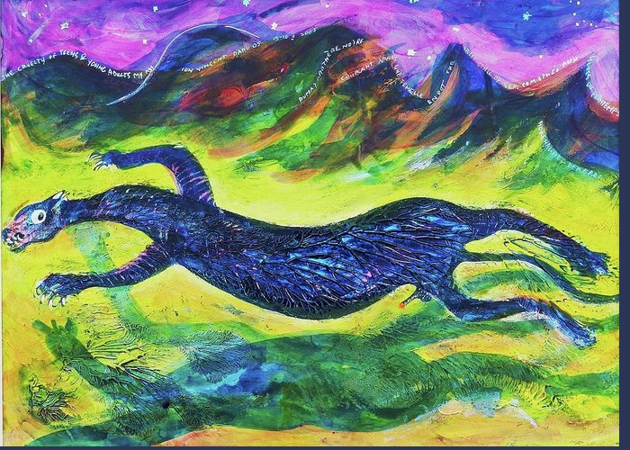 Art Greeting Card featuring the painting Panther In The Springtime by Ion vincent DAnu