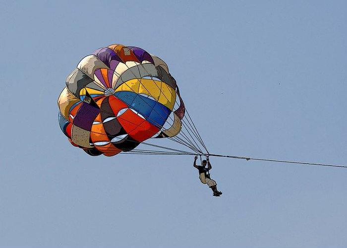 Vibrant Greeting Card featuring the photograph Paraglider Blue by Kantilal Patel