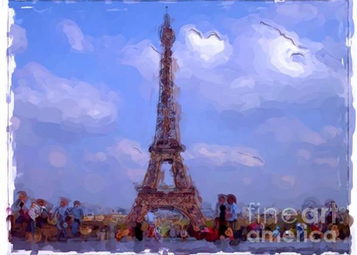 Landscapes Greeting Card featuring the painting Paris - France by Franck Guarinos