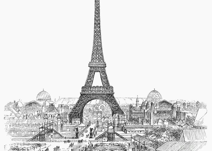 1889 Greeting Card featuring the photograph Paris Exhibition, 1889 by Granger
