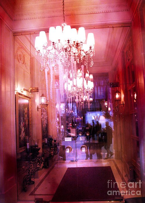 Paris Photography Greeting Card featuring the photograph Paris Posh Pink Red Hotel Interior Chandelier by Kathy Fornal