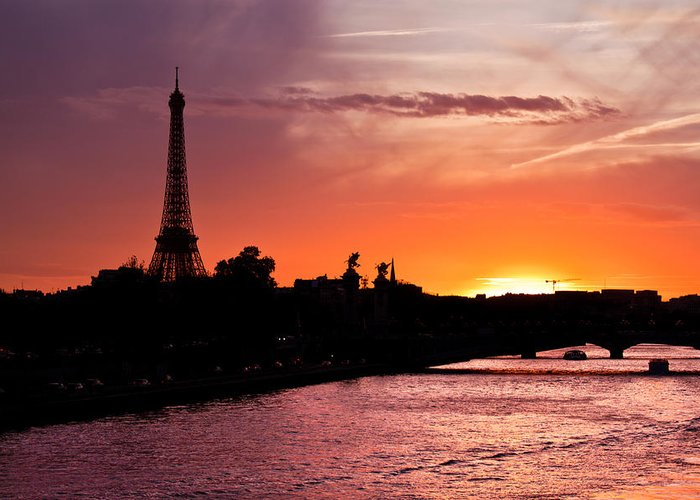 Ancient Greeting Card featuring the photograph Paris Sunset by Mircea Costina Photography