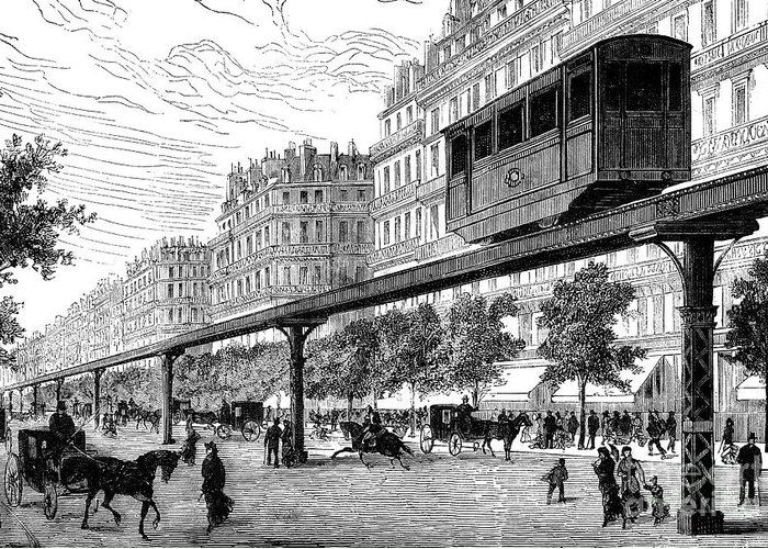 1880s Greeting Card featuring the photograph Paris: Tramway, 1880s by Granger