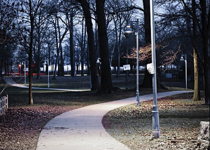 Park Greeting Card featuring the photograph Park Path At Dusk by Elena Elisseeva