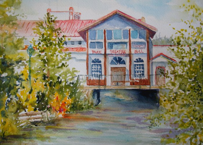 Watercolor Greeting Card featuring the painting Park Theatre Mall by Pamela England