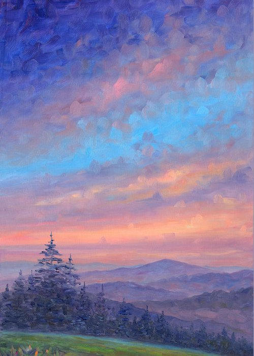 Sunset Greeting Card featuring the painting Parkway Glow II by Jeff Pittman