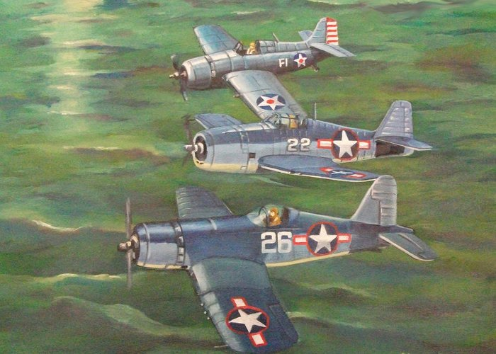 Naval Aviation Art Greeting Card featuring the painting Partners In Fame 2 by Murray McLeod