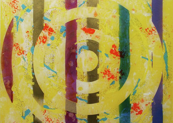 Abstract Greeting Card featuring the painting Party- Bullseye 1 by Mordecai Colodner