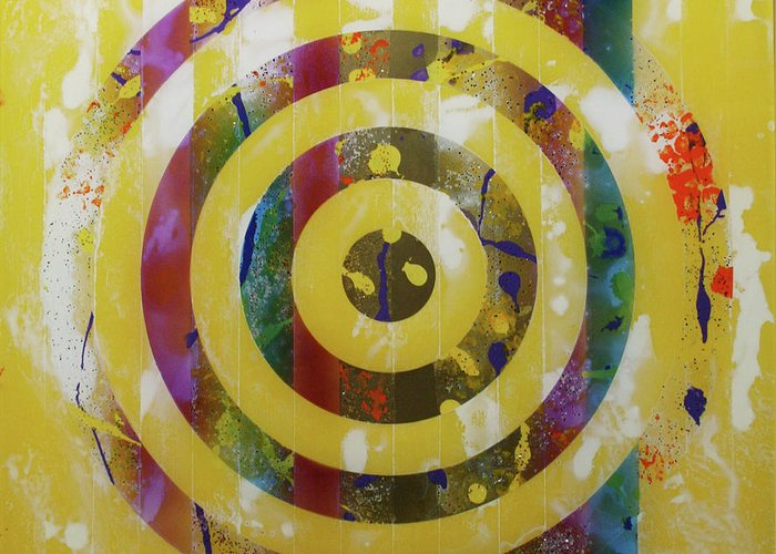 Party Greeting Card featuring the painting Party- Bullseye 2 by Mordecai Colodner