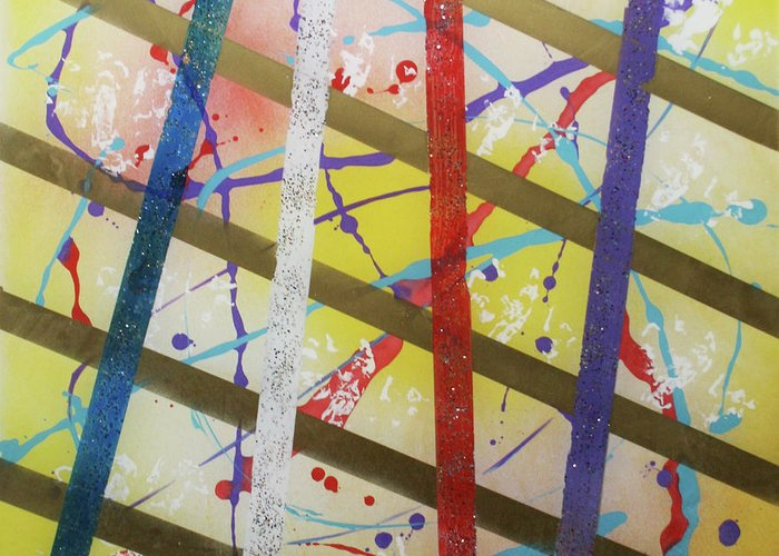 Party Greeting Card featuring the painting Party-stripes-1 by Mordecai Colodner