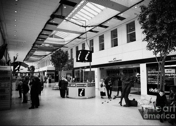 Glasgow Greeting Card featuring the photograph passenger concourse of Glasgow Buchanan street bus station Scotland UK by Joe Fox