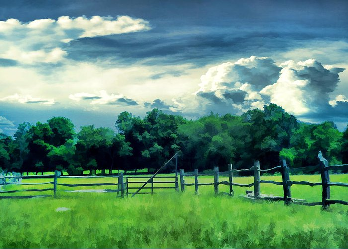 Farm Greeting Card featuring the photograph Pastoral Greenery by Lourry Legarde