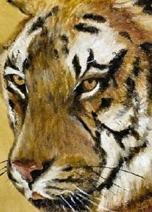 Animal Greeting Card featuring the painting Pathera tigris Tigris by Merle Blair