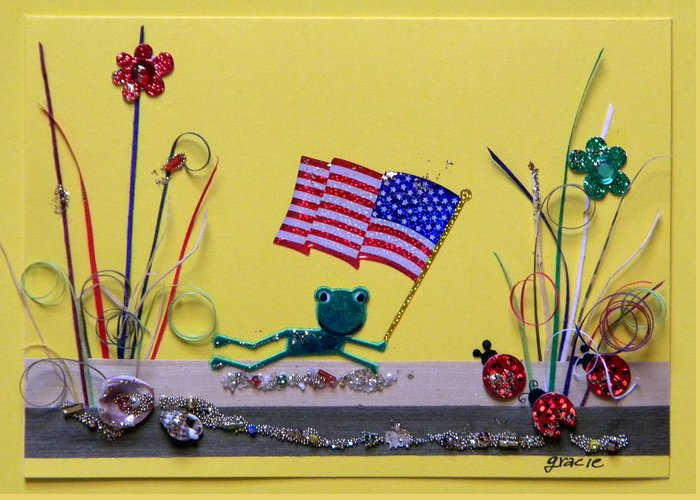 4th July Greeting Card featuring the mixed media Patriot Frog by Gracies Creations