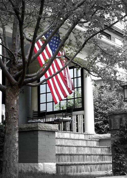 Flag Greeting Card featuring the photograph Patriot Porch by Dan Stone