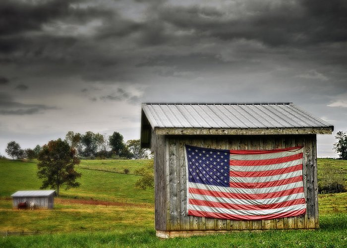 Usa Greeting Card featuring the photograph Patriotic Shed by Kathy Jennings