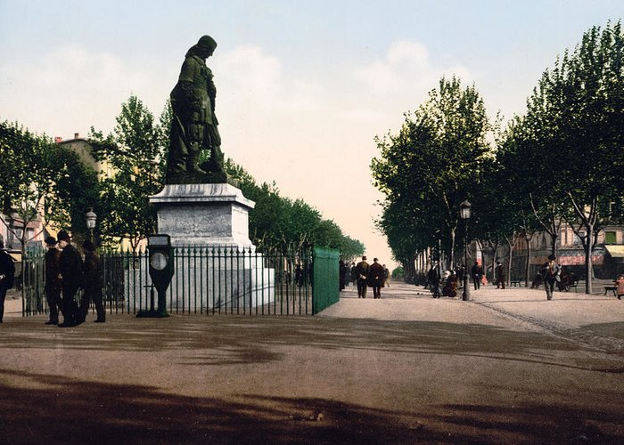 Allees Greeting Card featuring the photograph Paul Riquet Statue And The Allees In Beziers - France by International Images