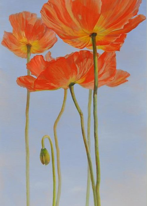 Floral Painting Greeting Card featuring the painting Pavots d Islande by Muriel Dolemieux
