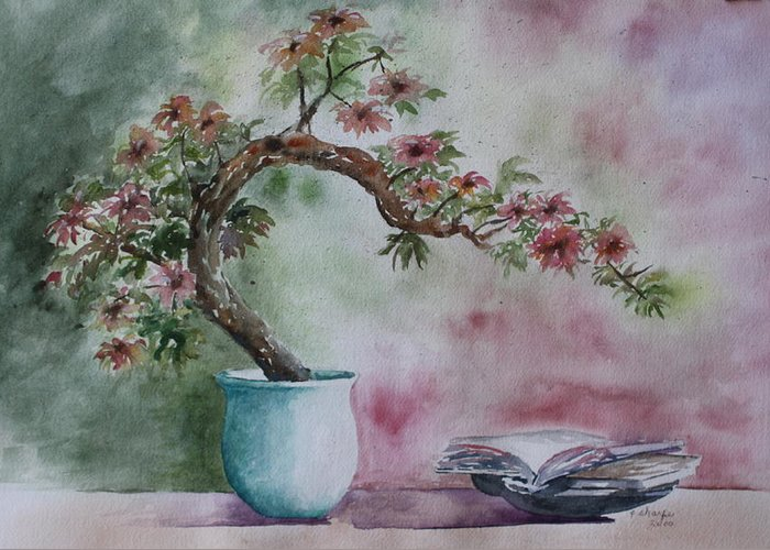 Peaceful Still Life Greeting Card featuring the painting Peace Of Mind by Patsy Sharpe