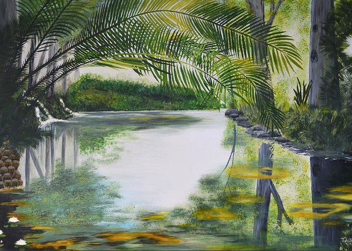 Peaceful Pond. Pond. Palms. Landscape. Water. Stellenbosch. Reflections. Reflections On Water Greeting Card featuring the painting Peaceful Pond by Tessa Dutoit