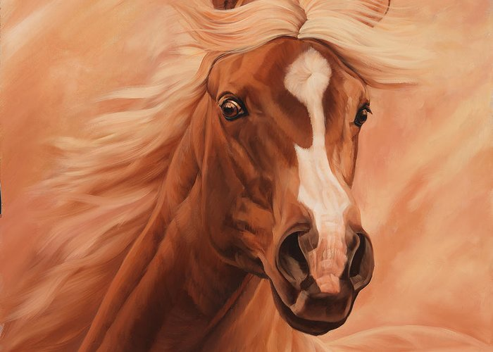 Michelle Grant Greeting Card featuring the painting Peach by JQ Licensing