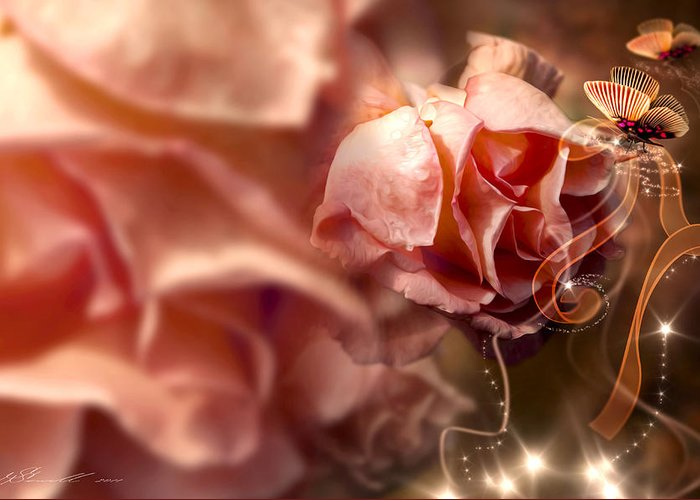Anniversary Greeting Card featuring the photograph Peach Roses And Ribbons by Svetlana Sewell