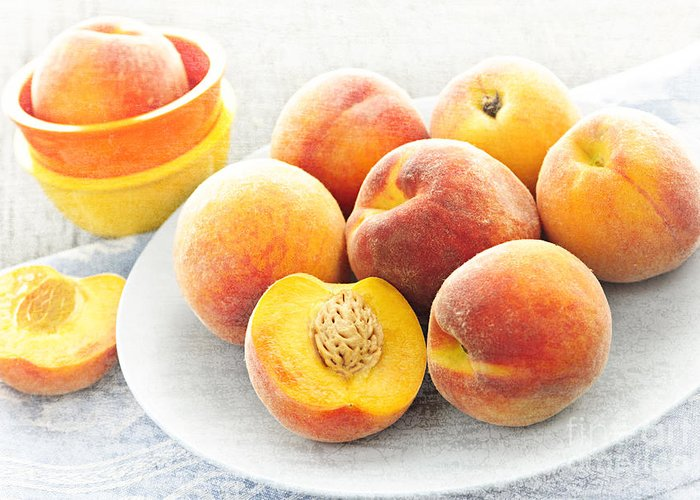 Peaches Greeting Card featuring the photograph Peaches On Plate by Elena Elisseeva