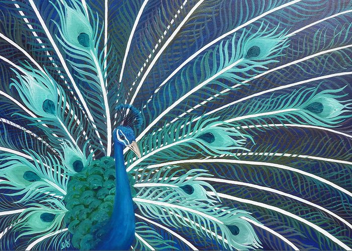 Peacock Greeting Card featuring the painting Peacock by Estephy Sabin Figueroa