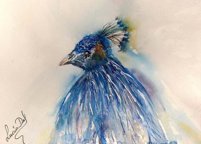 Watercolour Greeting Card featuring the painting Peacock by Lucia Del