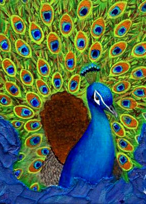 Peacock Print Greeting Card featuring the painting Peacock's Delight by The Art With A Heart By Charlotte Phillips