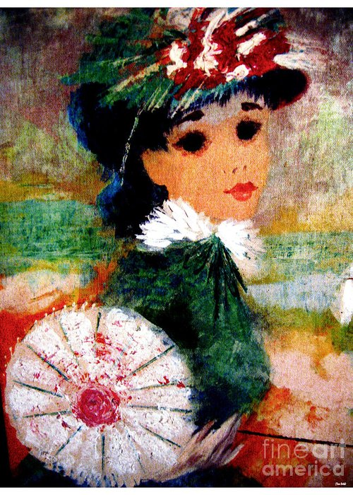Water Colors Greeting Card featuring the painting Pearl by Theo Bethel