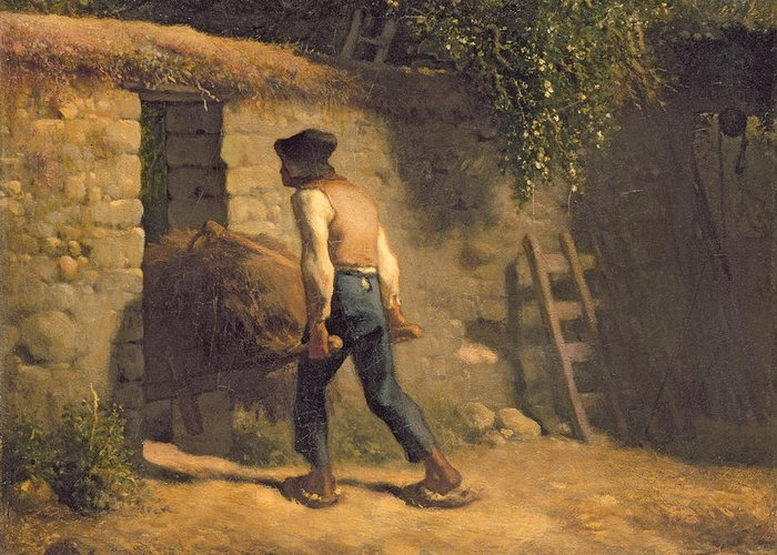 Male Greeting Card featuring the painting Peasant With A Wheelbarrow by Jean-Francois Millet