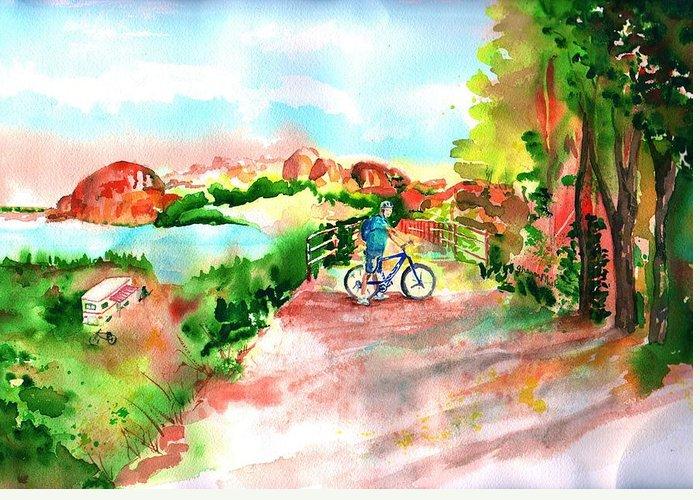 Peavine Trail Prescott Arizona Greeting Card featuring the painting Peavine Trail Prescott Arizona by Sharon Mick