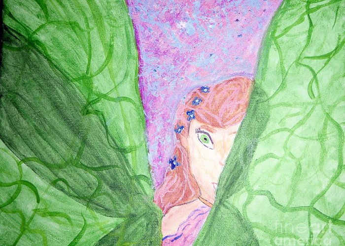 Fairy Greeting Card featuring the painting Peeking Fairy by Elizabeth Arthur