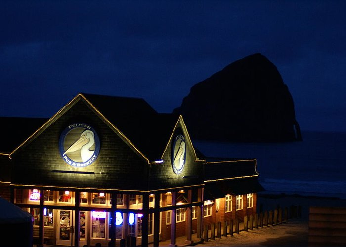 Pelican Pub Greeting Card featuring the photograph Pelican Pub by Jerry Cahill