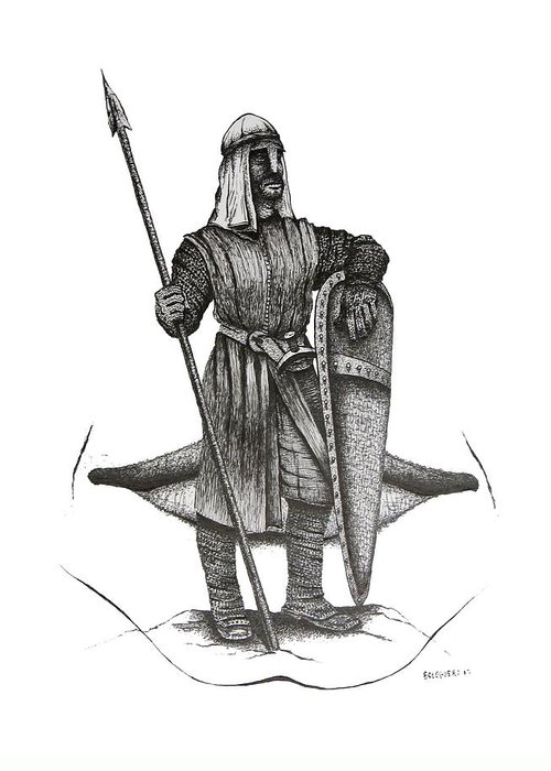 Original Greeting Card featuring the drawing Pen And Ink Drawing Of The Guardian by Mario Perez