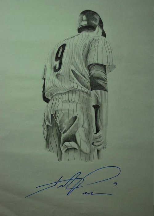 Hunter Pence Greeting Card featuring the drawing Pence 9 by Leo Artist