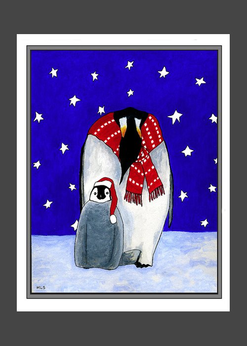 Penguins Greeting Card featuring the painting Penguin's First Christmas by Marla Saville
