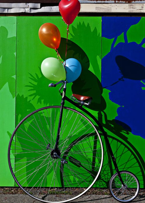 Penny Farthing Greeting Card featuring the photograph Penny Farthing And Balloons by Garry Gay