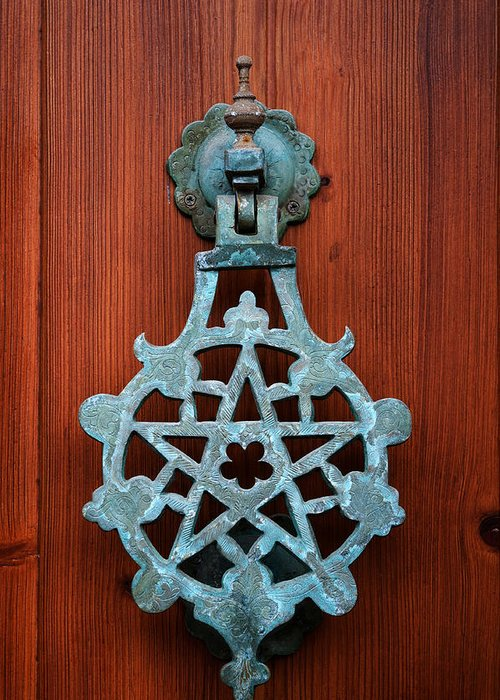 Door Greeting Card featuring the photograph Pentagram Knocker by Fabrizio Troiani