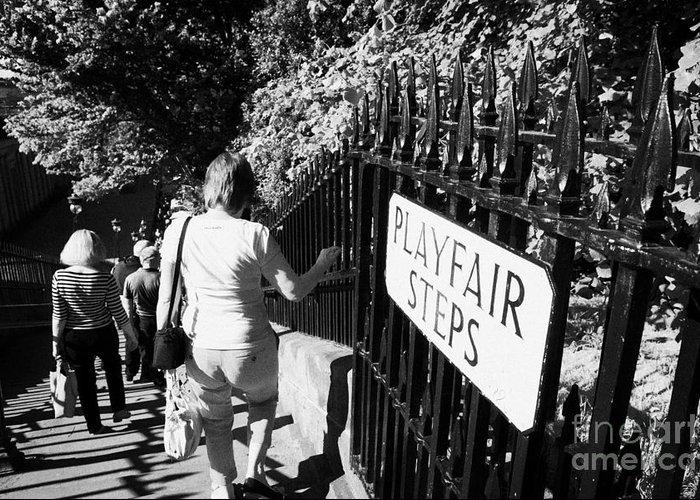Princes Greeting Card featuring the photograph People Walking Down The Playfair Steps Down Into Princes Street Gardens Edinburgh Scotland Uk United by Joe Fox