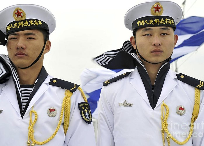 Military Greeting Card featuring the photograph Peoples Liberation Army Navy Sailors by Stocktrek Images