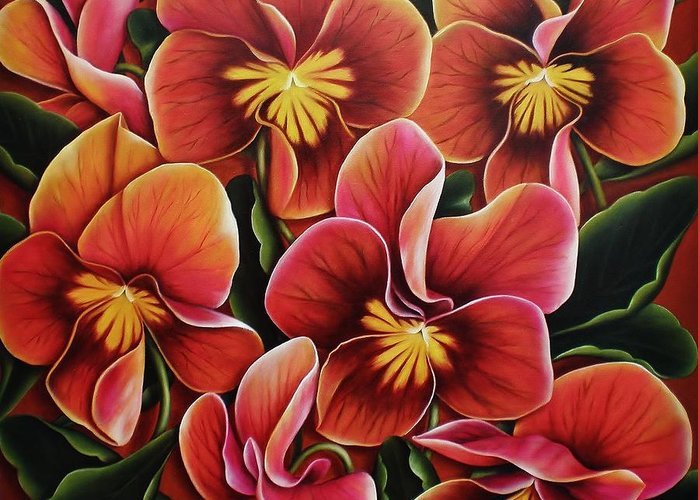Pansies Greeting Card featuring the painting Perfect Love by Paula Ludovino