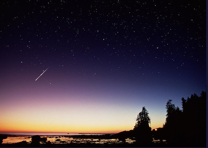 Perseid Meteor Greeting Card featuring the photograph Perseid Meteor Trail by David Nunuk