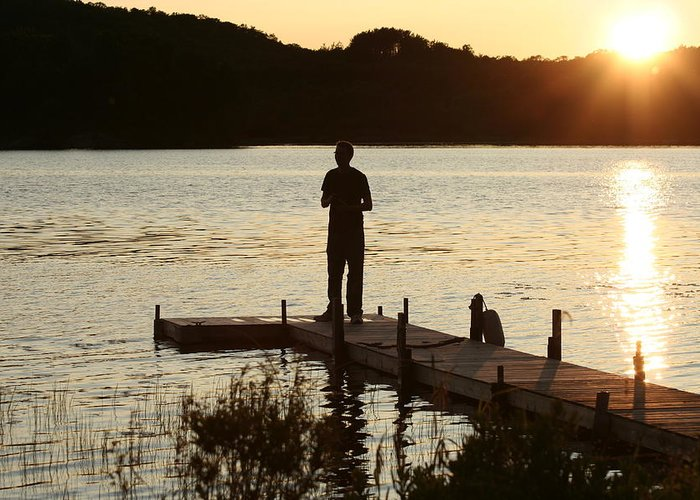 Water Greeting Card featuring the photograph Person contemplating by Dr Carolyn Reinhart
