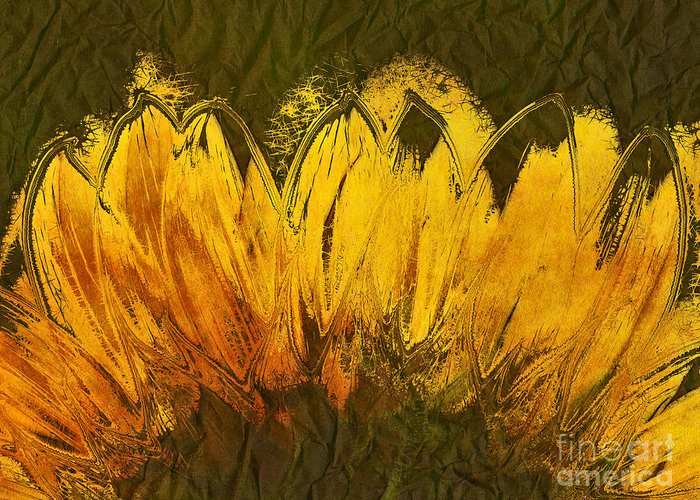 Sunflower Greeting Card featuring the digital art Petales De Soleil - A43t02b by Variance Collections