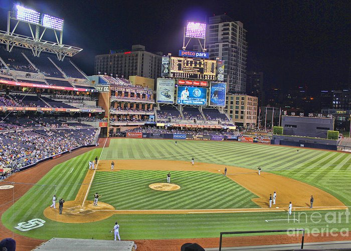 San Diego Padres Petco Park Downtown San Diego California Baseball Stadium Best In The Nation San Diego Padres Petco Park Downtown San Diego California Baseball Stadium Best In The Nation San Diego Padres Petco Park Downtown San Diego California Baseball Stadium Best In The Nation San Diego Padres Petco Park Downtown San Diego California Baseball Stadium Best In The Nation San Diego Padres Petco Park Downtown San Diego California Baseball Stadium Best In The Nation Greeting Card featuring the photograph Petco Park San Diego Padres by RJ Aguilar