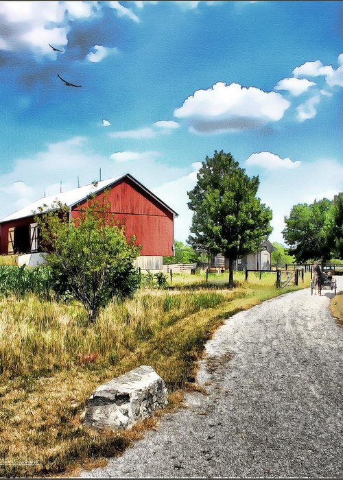 Watercolor Farms Greeting Card featuring the painting Peter Stuckey Farm by Tom Schmidt