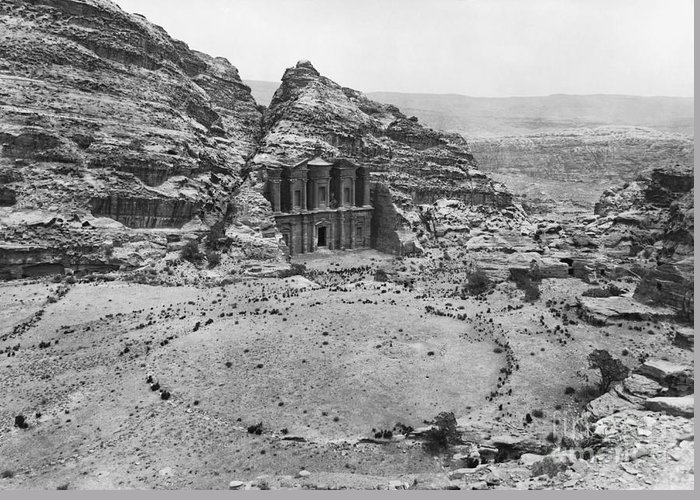 Historic Greeting Card featuring the photograph Petra, Jordan by Photo Researchers